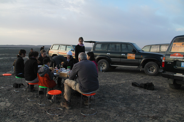 Breakfast at the campsite, before heading off on a short hike - Journey from the West, 2014/10