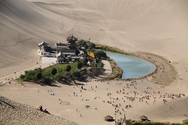 Crescent Lake and its temple. And its tourists! We escaped the crowds by hiking up into the sand dunes - Journey from the West, 2014/10