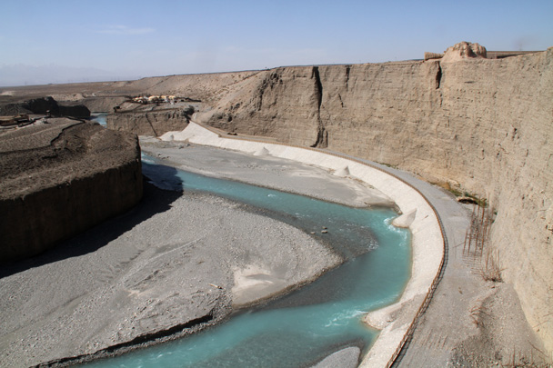 Near Jiayuguan City there's a deep river canyon, topped by more Great Wall - Journey from the West, 2014/10