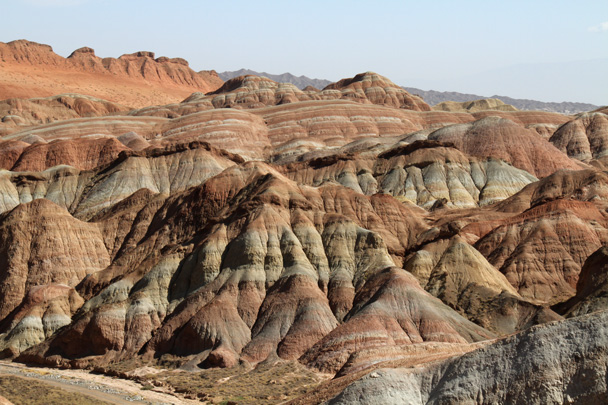 Bands of colour, revealed by erosion and wind - Zhangye Danxia Landform, Gansu Province, 2014/10