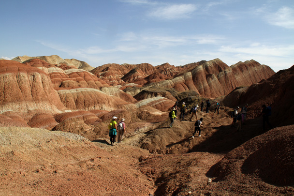 Hiking through the landform - Zhangye Danxia Landform, Gansu Province, 2014/10