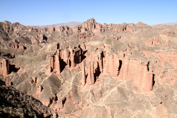 A view of some of the sandstone pillars in the Binggou Rock landform - Zhangye Danxia Landform, Gansu Province, 2014/10