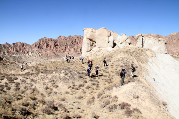 The hiking team at a lookout point - Zhangye Danxia Landform, Gansu Province, 2014/10