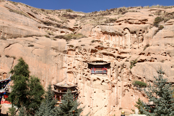 The Horsehoof Temple near Zhangye city, tunneled into the cliffs - Zhangye Danxia Landform, Gansu Province, 2014/10