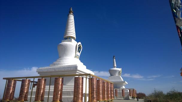 White stupas in the Tibetan Buddhist style - Zhangye Danxia Landform, Gansu Province, 2014/10