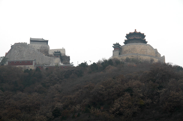 Looking up towards the temples at the top - Yajishan Taoist Temples hike, 2014/10