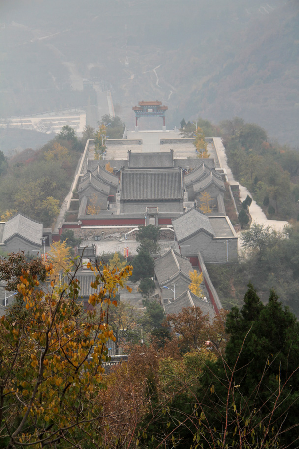 A view down the hill. We were on the way up! - Yajishan Taoist Temples hike, 2014/10