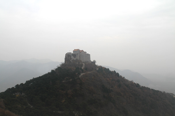 A view of the temples from the long trail - Yajishan Taoist Temples hike, 2014/10
