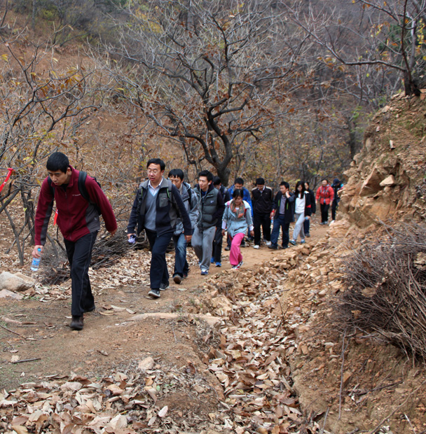 Here's where the hike got a little more difficult – a hill climb to get up to the Great Wall - CNCC teambuilding hike at the Little West Lake, 2014/10