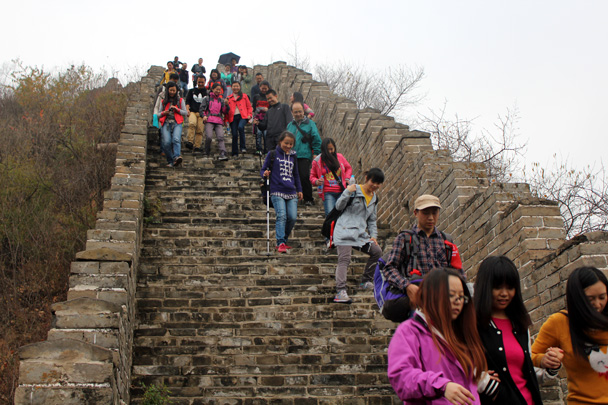 A steep section of restored Great Wall - CNCC teambuilding hike at the Little West Lake, 2014/10