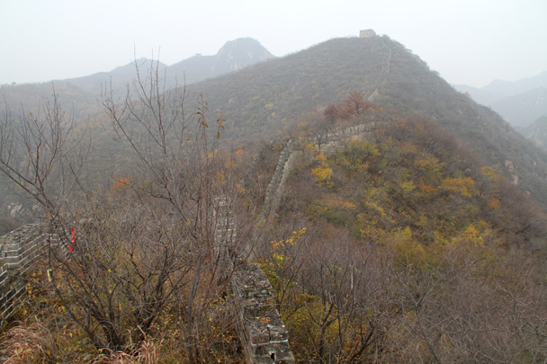 A line of Great Wall runs up into the misty hills - CNCC teambuilding hike at the Little West Lake, 2014/10