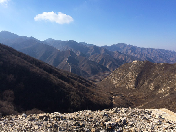 Great Wall in the background, and the remains of old Great Wall in the foreground of this shot - 20141108-Zhenbiancheng