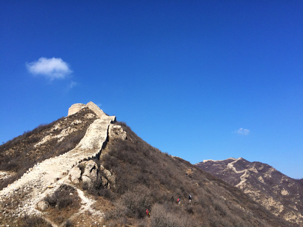We took a trail that allowed us to avoid the slippery section of Great Wall that leads up to the round tower - 20141108-Zhenbiancheng