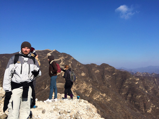 Hikers on the Great Wall, about to head for the high line of Great Wall in the background - 20141108-Zhenbiancheng