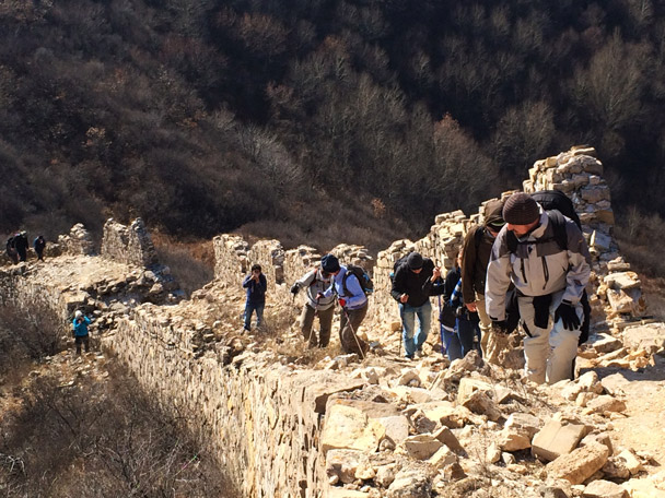 Climbing up a steep section of wild Great Wall - 20141108-Zhenbiancheng