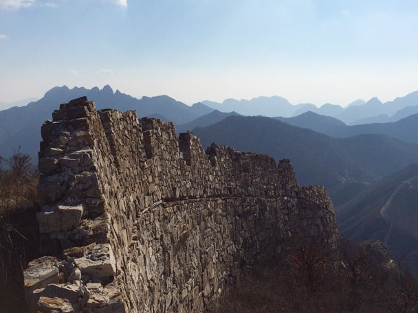 The Great Wall here is mostly made of rocks, and a hike along this stretch gives hikers super views of the surrounding mountains - 20141108-Zhenbiancheng