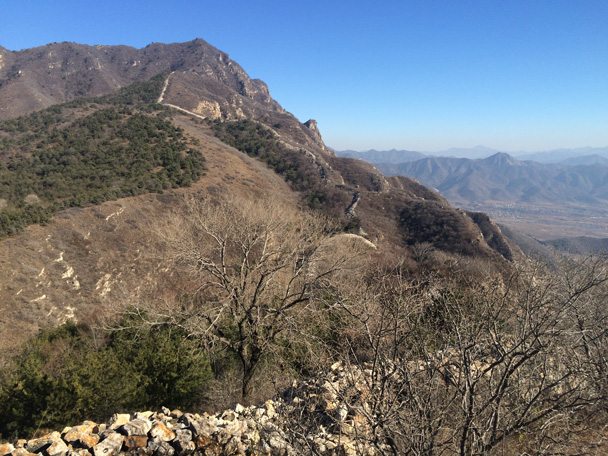 The old Great Wall continues along the top of the cliff. This is the outer line of wall that runs north of Beijing, one line of mountains further out than the Badaling Great Wall - Cypress Wells Canyon hike, 2014/11/09