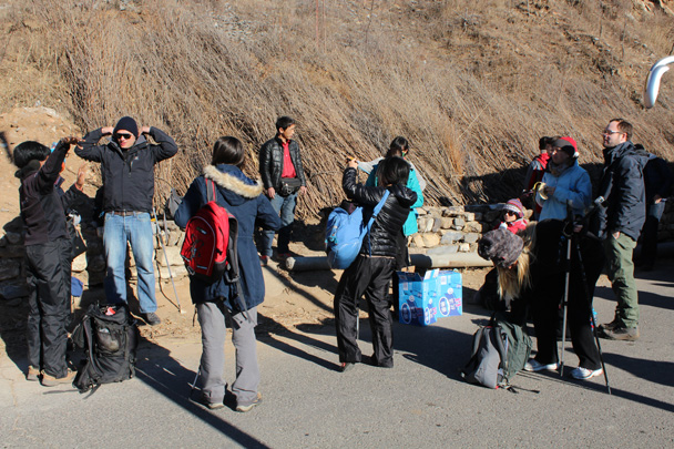 Setting up to start the hike - Great Wall Christmas 2014 - Jiankou to Mutianyu