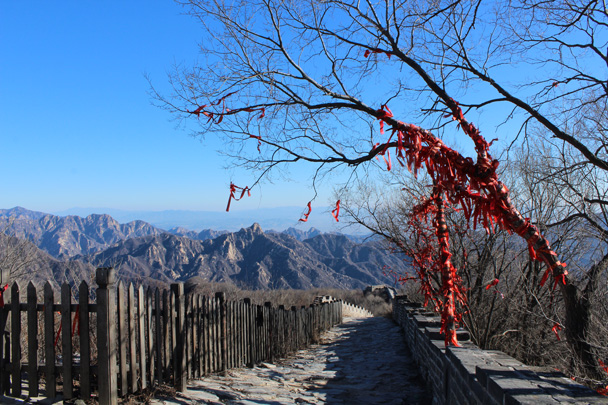 After a hike along unrestored 'wild' Great Wall we arrived at the restored section of Mutianyu - Great Wall Christmas 2014 - Jiankou to Mutianyu