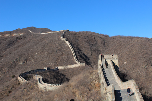 Looking back - we came down from the tower at the top left of the photo - Great Wall Christmas 2014 - Jiankou to Mutianyu