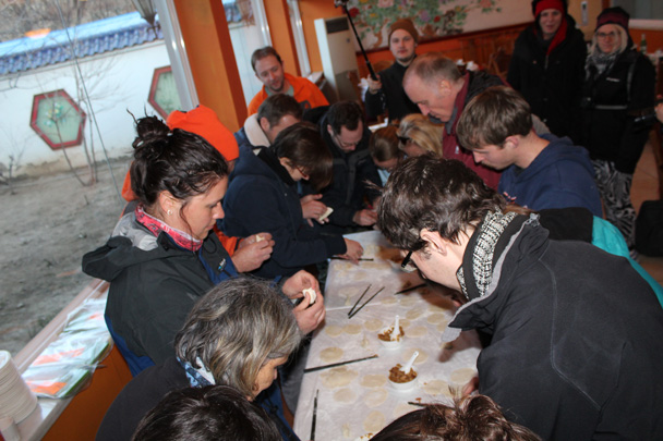 At the restaurant, the dumpling-making competition was beginning - Great Wall Christmas 2014 - Jiankou to Mutianyu