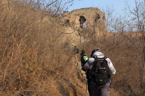 We hiked up a trail to the Great Wall at Gubeikou - Great Wall Christmas 2014 - Gubeikou Great Wall to Jinshanling Great Wall