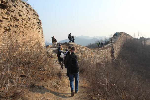 We followed the 'wild' Great Wall through the hills - Great Wall Christmas 2014 - Gubeikou Great Wall to Jinshanling Great Wall