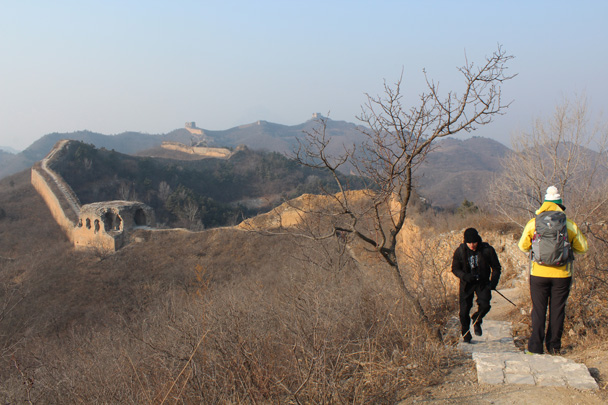 The tower just below is where we got on to the wall; sometimes we hike from further along - Great Wall Christmas 2014 - Gubeikou Great Wall to Jinshanling Great Wall