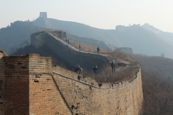 We hiked up to the high tower on the hill in the background - Great Wall Christmas 2014 - Gubeikou Great Wall to Jinshanling Great Wall