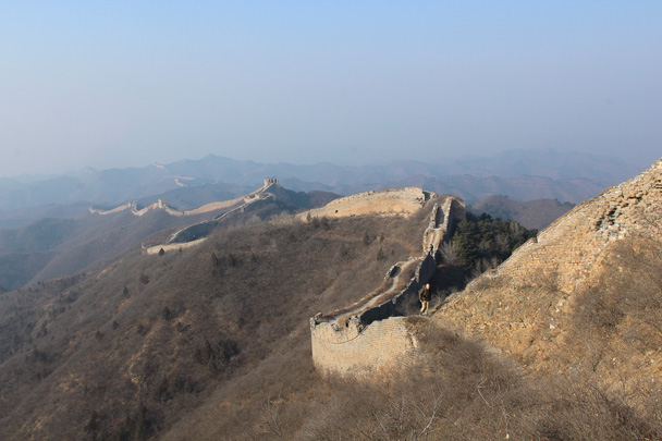 Looking back along the trail - Great Wall Christmas 2014 - Gubeikou Great Wall to Jinshanling Great Wall