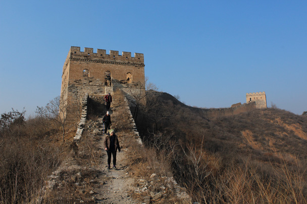 We hiked down from this tower - Great Wall Christmas 2014 - Gubeikou Great Wall to Jinshanling Great Wall