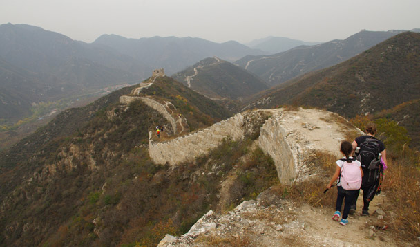 The young ones are heading down along the Great Wall - Hike Fest 2015
