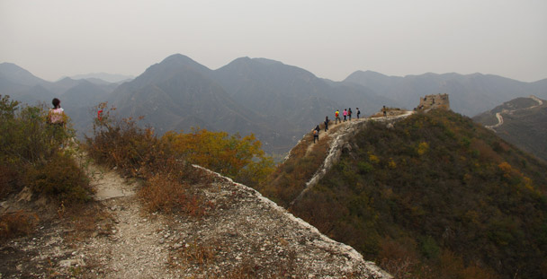 Views of hikers on the Great Wall as they approach a tower - Hike Fest 2015
