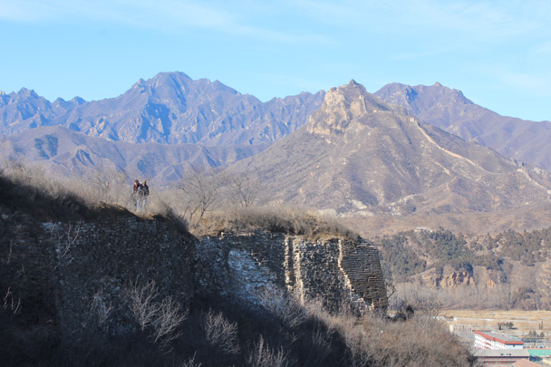 3 Looking back along the trail we could see some impressive mountains, with a steep line of Great Wall going straight up - Gubeikou Great Wall hike, 2015/02/08