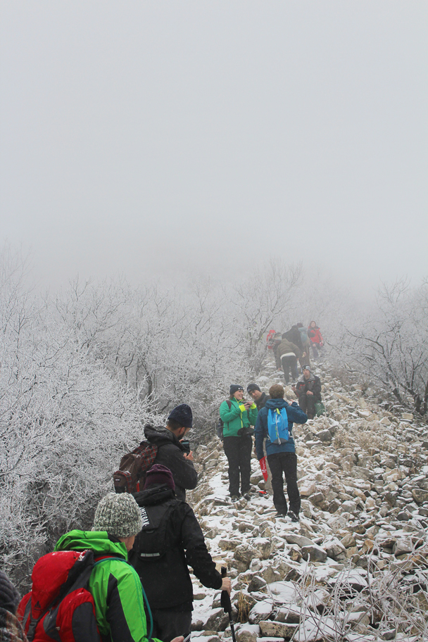 Heavy natural mist surrounding us the higher we climbed. We usually continue straight up the wall here, but not today - Nine-Eyes Tower snow hike, 2015/02/20