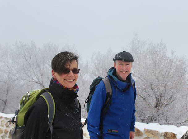 Smiles all round once we reached the wall - Nine-Eyes Tower snow hike, 2015/02/20