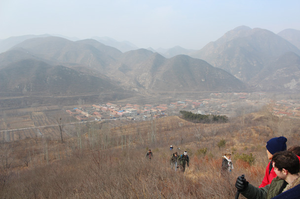 Looking back towards the village where we began the hike - Middle Route of Switchback Great Wall, 2015/02/21
