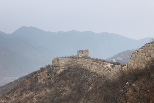 Unrestored Great Wall, with a Ming Dynasty-era tower - Middle Route of Switchback Great Wall, 2015/02/21