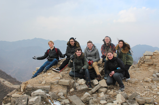 Stopping for a break atop the remains of a tower - Middle Route of Switchback Great Wall, 2015/02/21