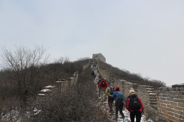 We took our time for this climb – slippery and steep - Middle Route of Switchback Great Wall, 2015/02/21
