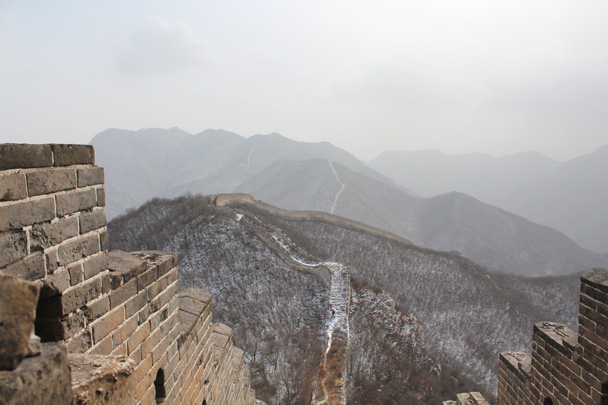 Another view from the top. What you can't see is the howling gale! - Middle Route of Switchback Great Wall, 2015/02/21