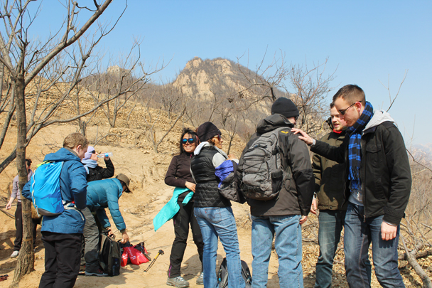 Taking a break on the way up to the Great Wall. Almost there! - Longquanyu Great Wall and the Little West Lake, 2015/04