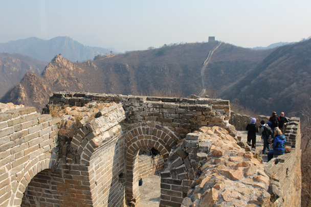 Louise's view from the top. We'd be heading for the tall tower on the other side - Longquanyu Great Wall and the Little West Lake, 2015/04