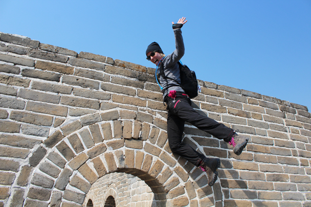 Louise is coming down from the top! - Longquanyu Great Wall and the Little West Lake, 2015/04