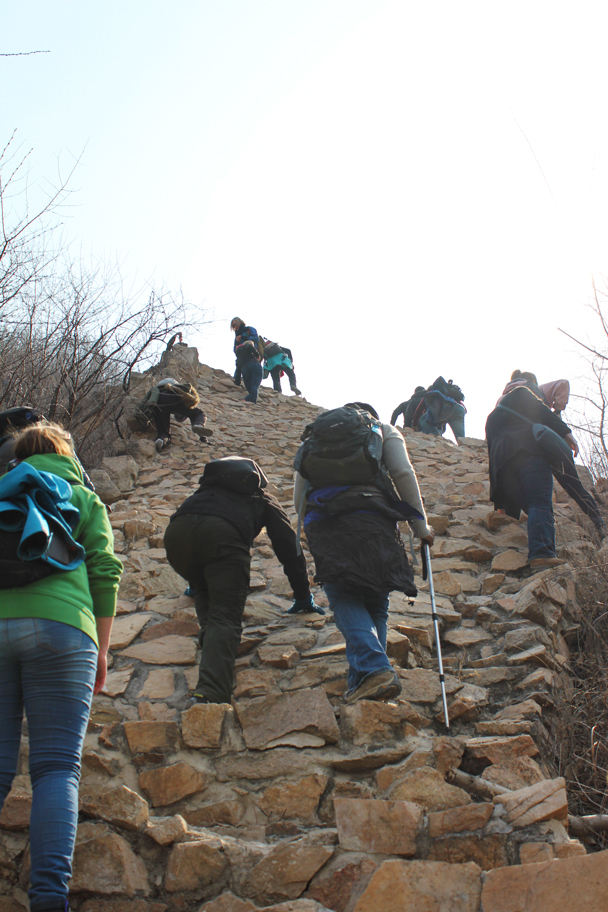 This is a restored section, and rather tricky to climb - Longquanyu Great Wall and the Little West Lake, 2015/04