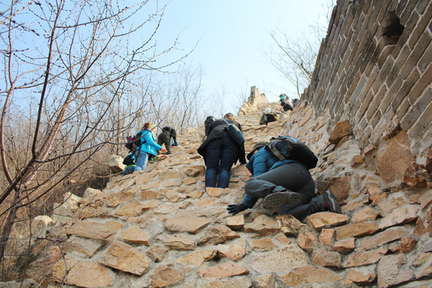 A really steep part of the climb - Longquanyu Great Wall and the Little West Lake, 2015/04