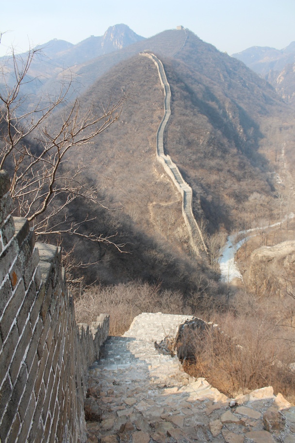 Looking back down. We came over from the Great Wall in the background - Longquanyu Great Wall and the Little West Lake, 2015/04