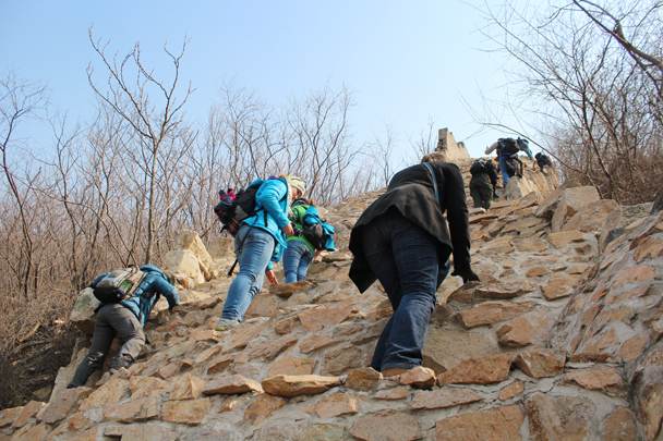 Almost at the top - Longquanyu Great Wall and the Little West Lake, 2015/04