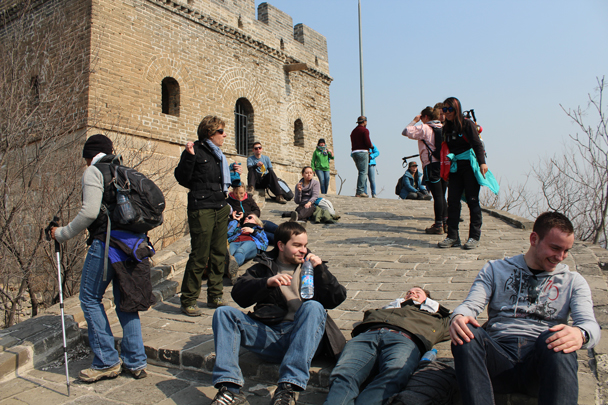 We all needed time to catch our breath after that steep climb - Longquanyu Great Wall and the Little West Lake, 2015/04