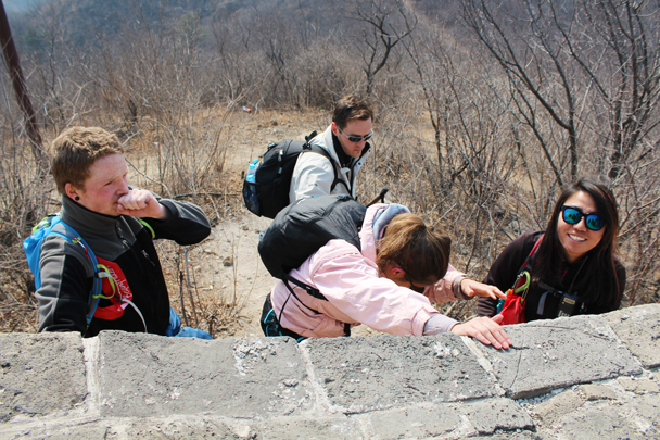 Here we had to jump off the wall - Longquanyu Great Wall and the Little West Lake, 2015/04